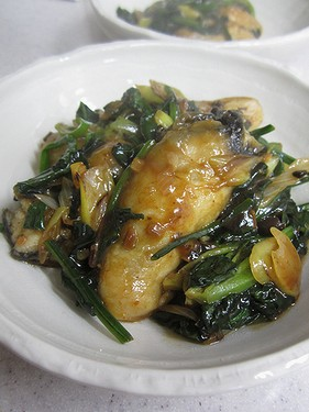 20131226 牡蠣とほうれん草の豆鼓醤炒め