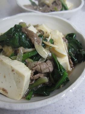 20140123 牛肉とほうれん草豆腐のオイスター煮