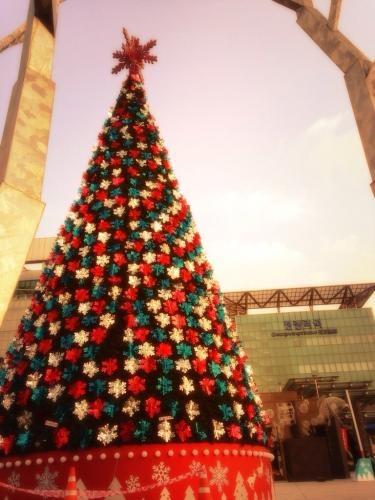 청량리역(清涼駅)に巨大クリスマスツリー現る