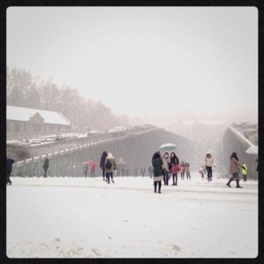 2013年12月12日の梨花女子大学にて。雪で真っ白*