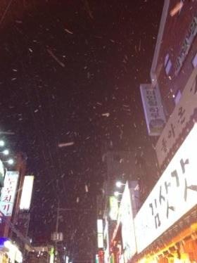 ご飯を食べて、お店を出るとまた雪が・・。