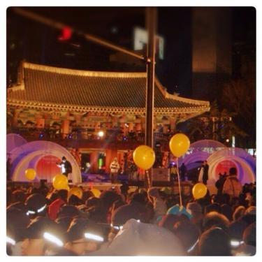韓国の大晦日、カウントダウンのイベントは多くの人が鐘閣(チョンガッ)へ押し寄せます