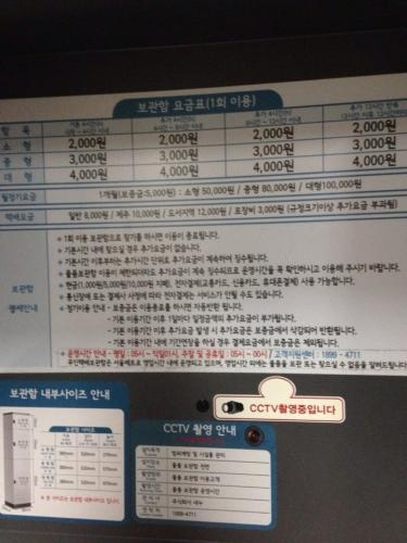 日本のコインロッカー同様にロッカーの大きさ・預ける時間などで料金が異なります。