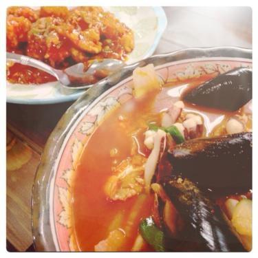 韓国のチャンポンと海老チリはやみつきになりますㅎㅎ