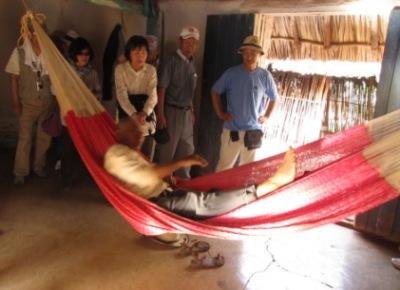 自作のハンモックで寝る老人