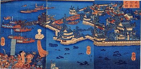 備中高松城水攻防戦の図