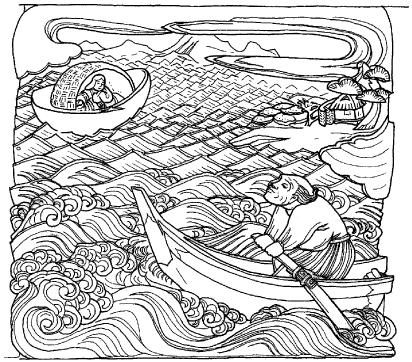 「舟」の場面の彫刻のイラスト