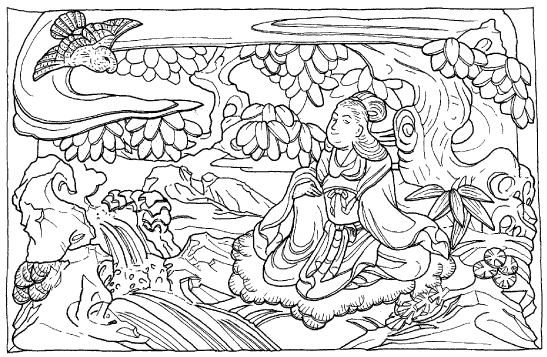 「鷹」の場面の彫刻のイラスト