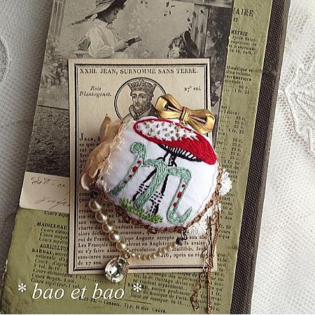 embroidery brooch mashroom