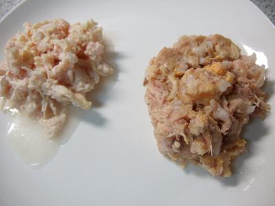 左:鶏の胸肉のご馳走/ マグロ チキンとチーズ