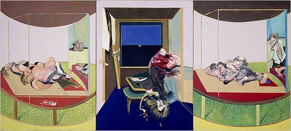 フランシスベーコン作《TSエリオットの詩『闘技士スウィーニー』から想起した三幅対》1967