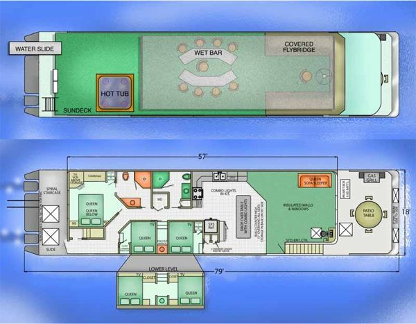 Diy houseboat plans building your own houseboat vocujigibo for Boat house plans pictures