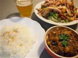 9・17豆のキーマカレー&鶏サラダ&ビール