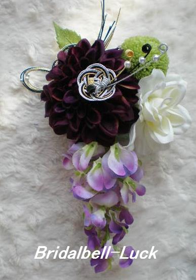 紫ダリアの髪飾り