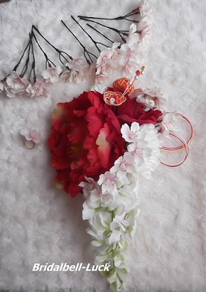 桜とピオニーの和装髪飾り