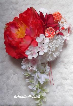 ピオニー桜の和装髪飾り