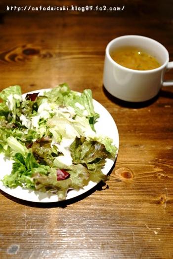 カフェ・わかば堂◇ランチのサラダとスープ