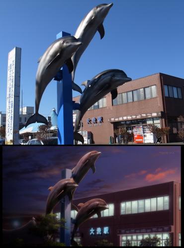 イルカの像