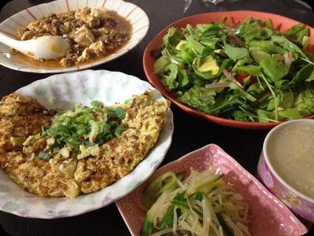 麻婆豆腐+キャベツとおからのお好み焼き風+もやしと胡瓜のナムル+グリーンサラダ+たまごスープ