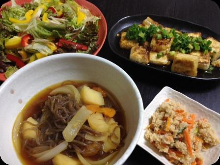 肉じゃが+あげだし豆腐+卯の花+グリーンサラダ