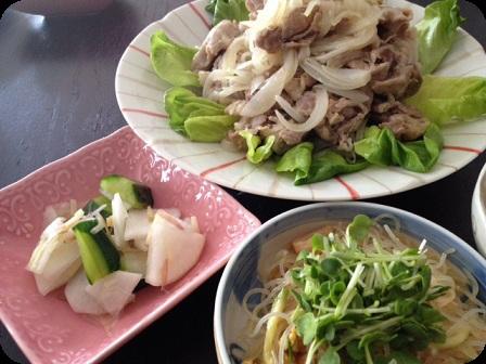 塩ダレ豚+春雨サラダ+大根と胡瓜の浅漬け