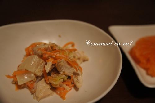 白菜とササミのサラダ