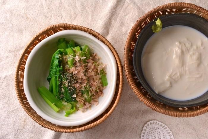 小松菜・湯葉