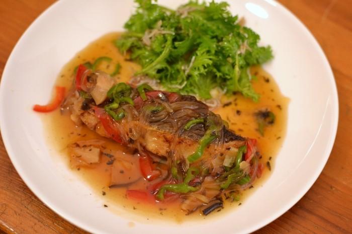 鱈の梅酢餡・わさび菜のしらす和えサラダ