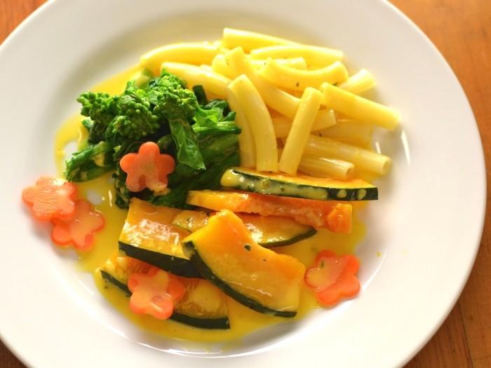 菜の花とカボチャのオランディーズ