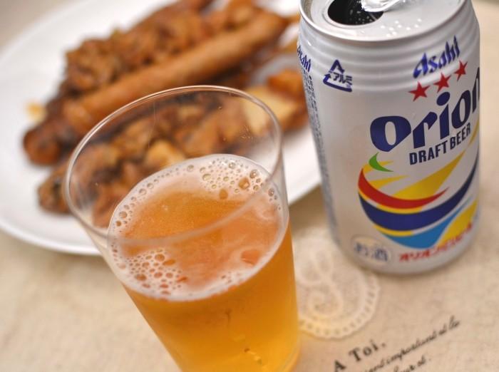 オリオンビールと焼き鳥