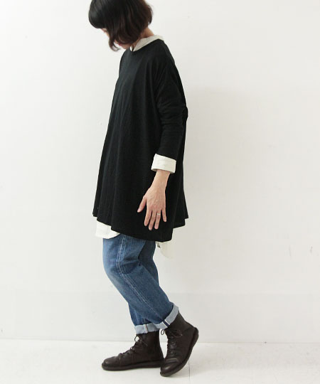 evameva (エヴァムエヴァ) Raising Linen Shirt Tunic