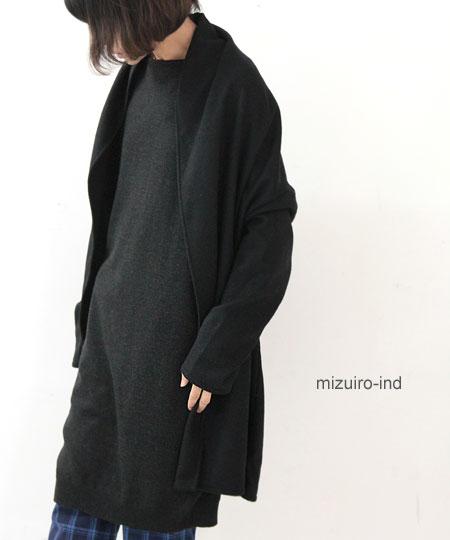 mizuiro ind (ミズイロインド) ボートネックコクーンロングベスト