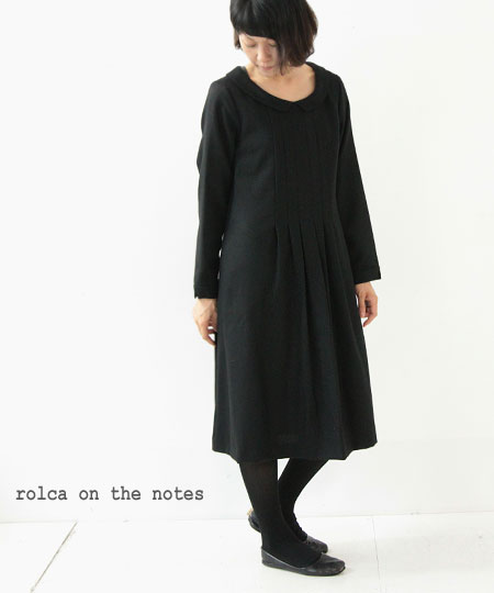 rolca on the notes (ロルカオンザノーツ) ウールドビーフラットカラー長袖ワンピース