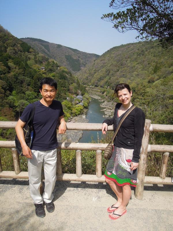 嵐山・亀山公園展望台。眼下に流れるのは保津川