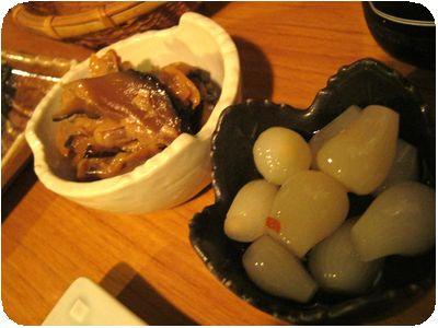 椎茸とあさりの煮物+らっきょう