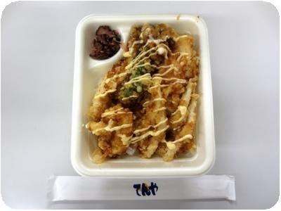 ポテマヨ鶏天丼+イカ天+白魚天+菜の花天