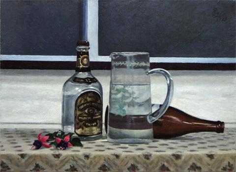 ガラス瓶の静物 P8 1993年 油彩 北山良文 Yoshifumi Kitayama