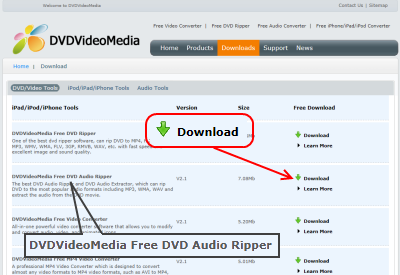 DVDVideoMedia Free DVD Audio Ripper ダウンロード