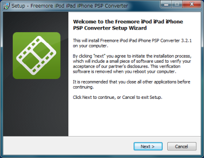 Freemore iPod iPad iPhone PSP Converter インストール