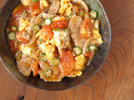豚とトマトの生姜焼き11