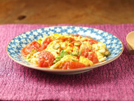 トマトとオクラの卵炒め58