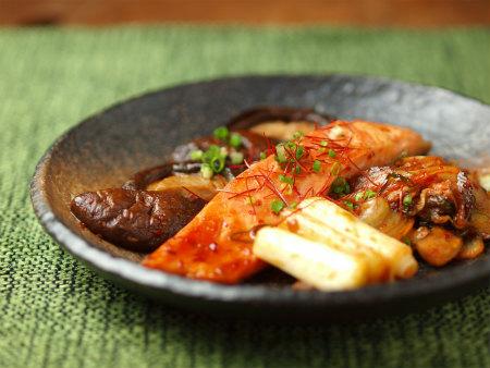 鮭と椎茸のキムチ焼き05