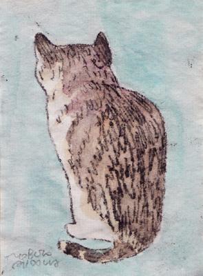 後ろ向き猫