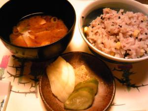「ご飯、汁物、漬物」梅の花(福岡市)