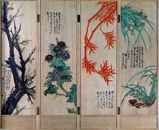 s-富岡てっさい 四君子絵図 四曲屏風一隻 大正8年(1919) 84歳