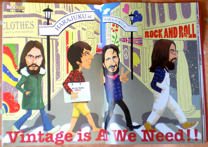 Vintage Is All We Need Beatles John Lennon Paul McCartney George Harrison Ringo Starr caricature