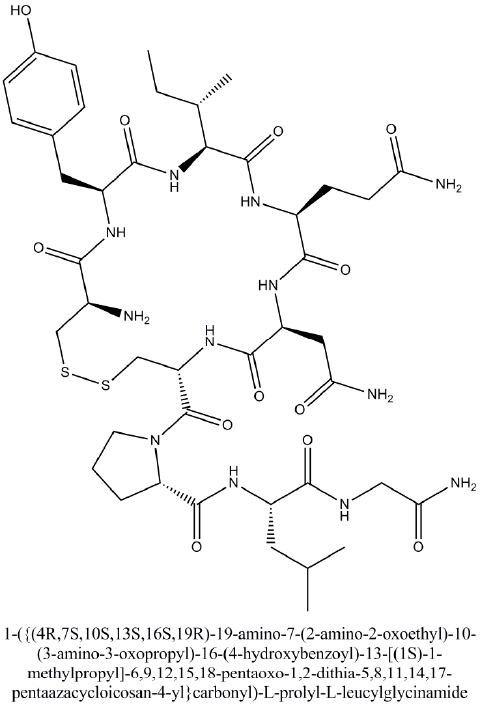 1-({(4R,7S,10S,13S,16S,19R)-19-amino-7-(2-amino-2-oxoethyl)-10-(3-amino-3-oxopropyl)-16-(4-hydroxybenzoyl)-13-[(1S)-1-methylpropyl]-6,9,12,15,18-pentaoxo-1,2-dithia-5,8,11,14,17-pentaazacycloicosan-4-yl}carbonyl)-L-prolyl-L-leucylglycinamide