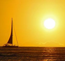 ヨットと夕日(トリミング)★小 250