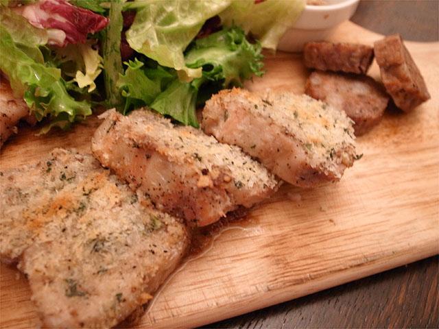 131221enso玉宮-豚肉三種盛り・バラ肉コンフィとフェンネルソーセージ