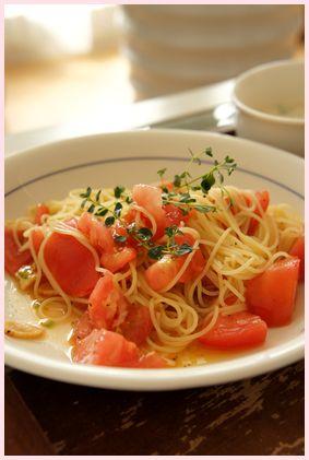 トマトとガーリックのパスタ120618